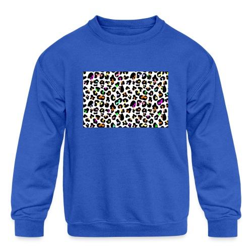 Colorful Animal Print - Kids' Crewneck Sweatshirt