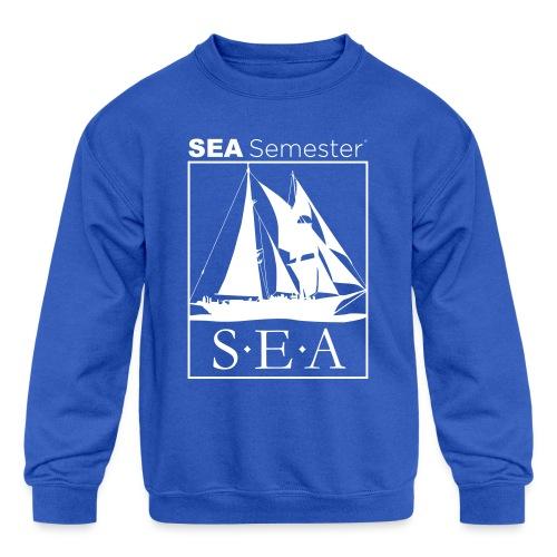 SEA_logo_WHITE_eps - Kids' Crewneck Sweatshirt