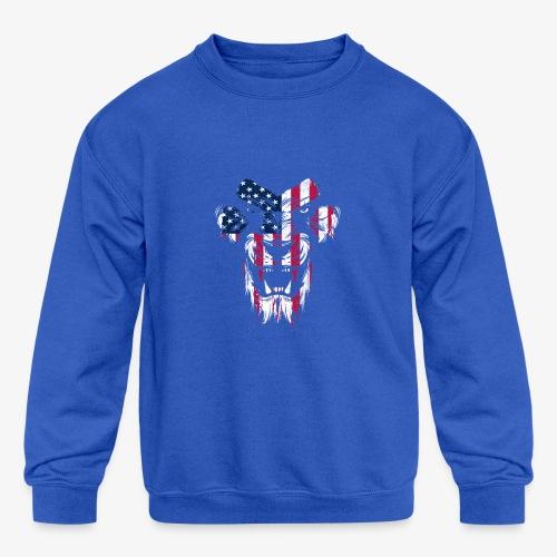 Lovely American Lion USA Flag Silhouette Portrait - Kids' Crewneck Sweatshirt