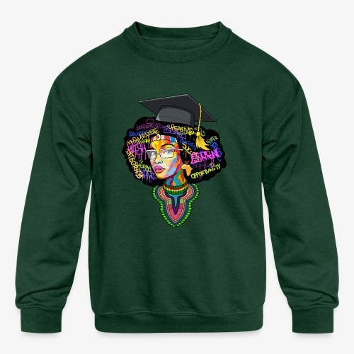Smart Black Woman - Kids' Crewneck Sweatshirt