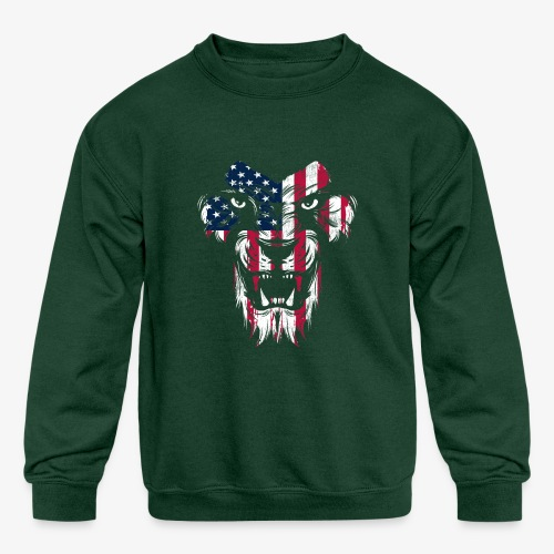 American Flag Lion - Kids' Crewneck Sweatshirt