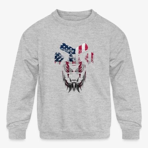 American Flag Lion Shirt - Kids' Crewneck Sweatshirt