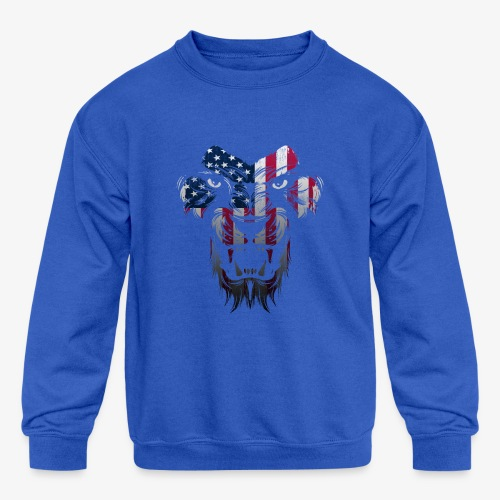 American Flag Lion Shirt - Kids' Crewneck Sweatshirt