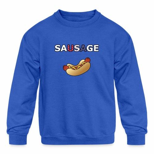 Patriotic BBQ Sausage - Kids' Crewneck Sweatshirt