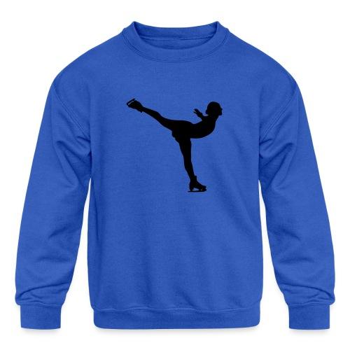 Ice Skating Woman Silhouette - Kids' Crewneck Sweatshirt