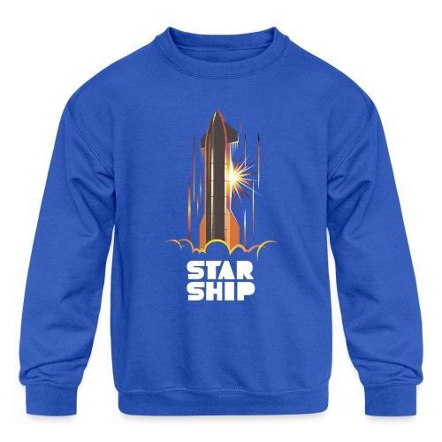 Star Ship Mars - Dark - Kids' Crewneck Sweatshirt