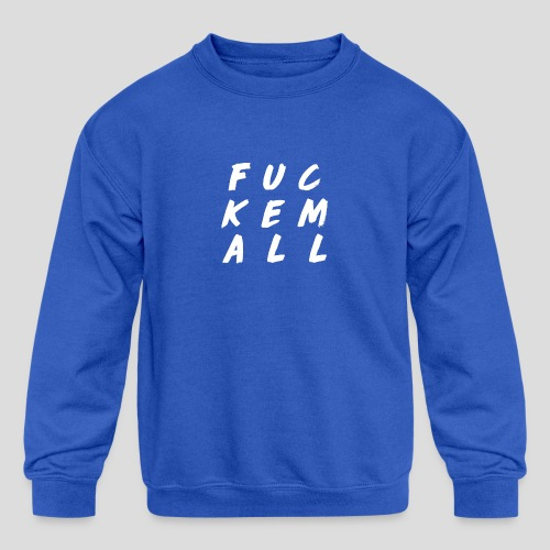FUCKEMALL White Logo - Kids' Crewneck Sweatshirt