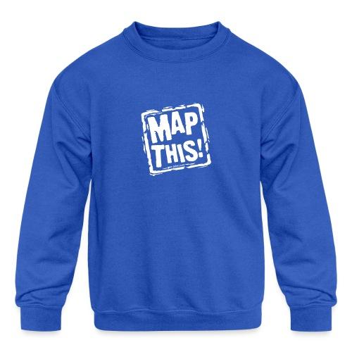 MapThis! White Stamp Logo - Kids' Crewneck Sweatshirt