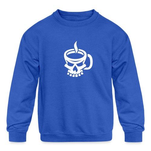 Caffeinated Coffee Skull - Kids' Crewneck Sweatshirt