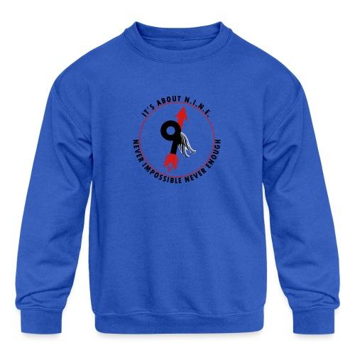 NINE Logo with Wings - Kids' Crewneck Sweatshirt