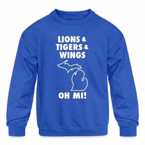 LIONS & TIGERS & WINGS, OH MI! - Kids' Crewneck Sweatshirt