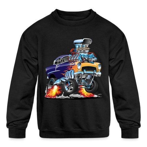 Classic Fifties Hot Rod Muscle Car Cartoon - Kids' Crewneck Sweatshirt