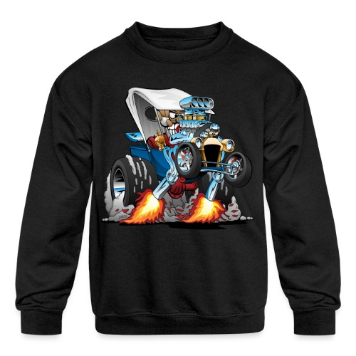 Custom T-bucket Roadster Hotrod Cartoon - Kids' Crewneck Sweatshirt