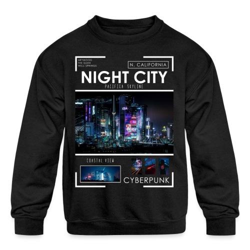 Night City Pacifica Skyline - Kids' Crewneck Sweatshirt