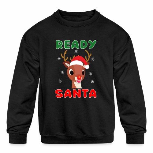 Rudolph Red Nose Reindeer Christmas Snowflakes. - Kids' Crewneck Sweatshirt