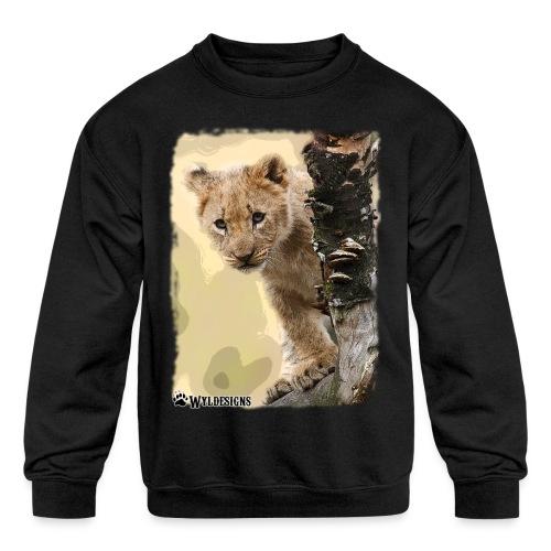 Lion Cub Peeking - Kids' Crewneck Sweatshirt