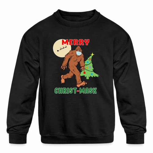 Merry Christmask Sasquatch Mask Social Distance. - Kids' Crewneck Sweatshirt