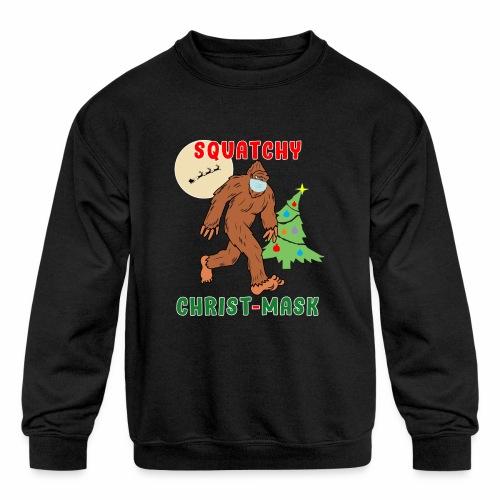 Bigfoot Squatchy Christmas Mask Social Distance. - Kids' Crewneck Sweatshirt