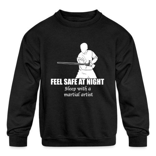 Feel safe male LS - Kids' Crewneck Sweatshirt