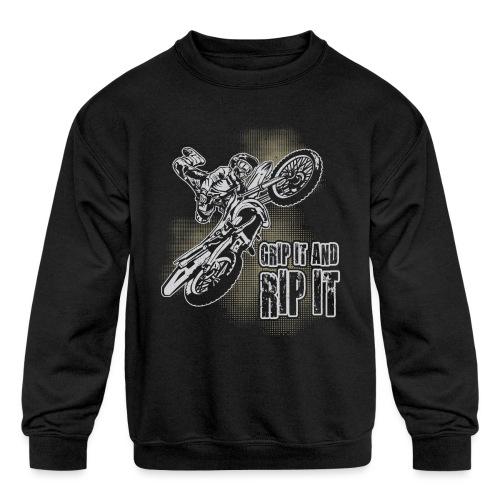 Extreme Motocross Grip It - Kids' Crewneck Sweatshirt