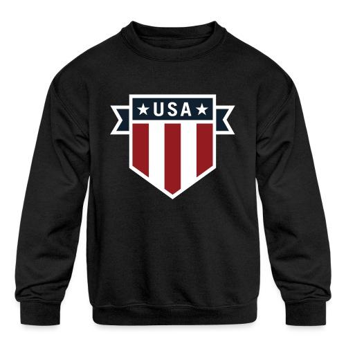 USA Pride Red White and Blue Patriotic Shield - Kids' Crewneck Sweatshirt