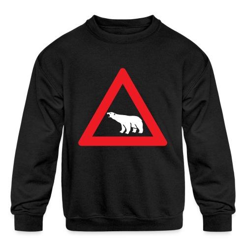 Polar Bear Road Sign - Kids' Crewneck Sweatshirt