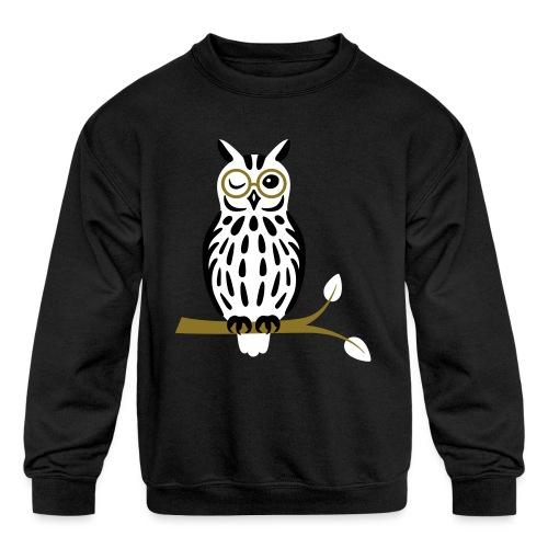 Winky Owl - Kids' Crewneck Sweatshirt