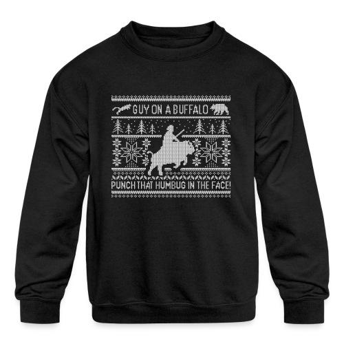 Guy on a Buffalo X-mas 17 - Kids' Crewneck Sweatshirt