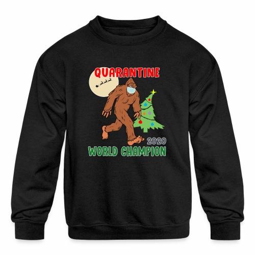 Quarantine World Champion Sasquatch Mask Christmas - Kids' Crewneck Sweatshirt