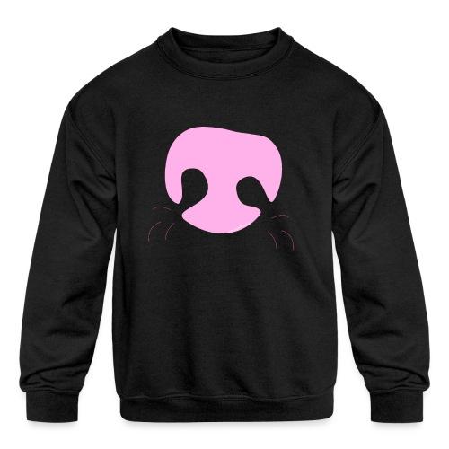 Pink Whimsical Dog Nose - Kids' Crewneck Sweatshirt