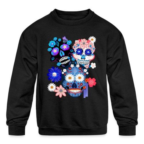 3 Skulls-Day Of The Dead - Kids' Crewneck Sweatshirt