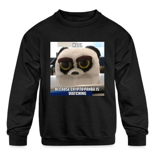 Crypto Panda Is Watching - Kids' Crewneck Sweatshirt
