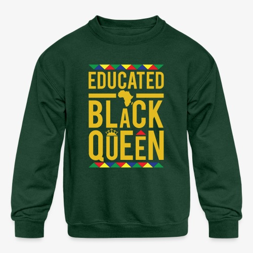Educated Black Queen - Kids' Crewneck Sweatshirt