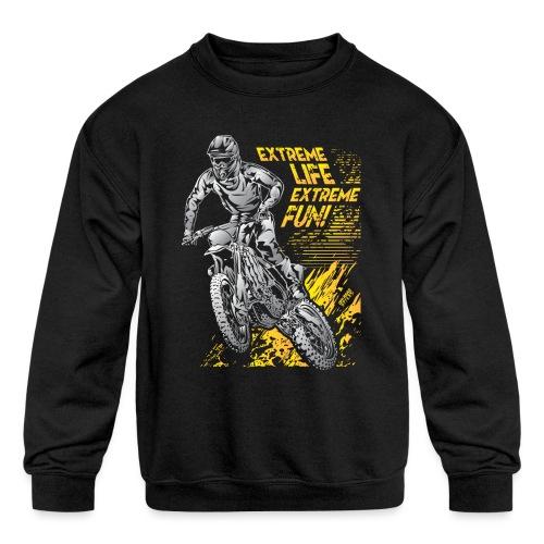 Extreme Life Motorcycle - Kids' Crewneck Sweatshirt