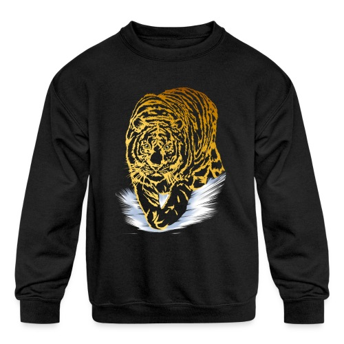 Golden Snow Tiger - Kids' Crewneck Sweatshirt