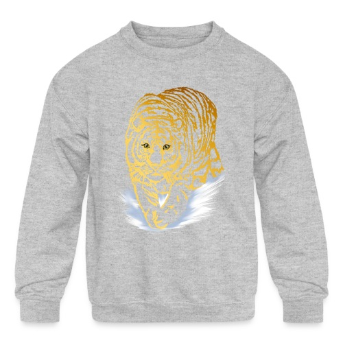 Golden Snow Tiger - Kids' Crewneck Sweatshirt