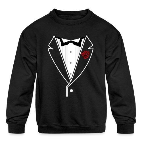 Tuxedo w/White Lapel - Kids' Crewneck Sweatshirt