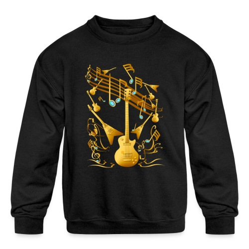 Gold Guitar Party - Kids' Crewneck Sweatshirt