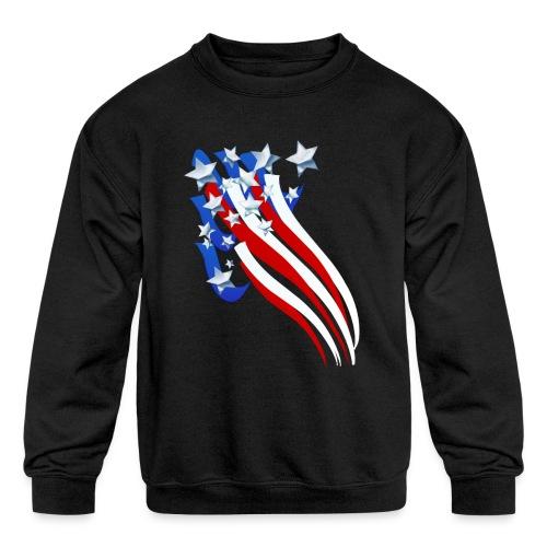 Sweeping Old Glory - Kids' Crewneck Sweatshirt