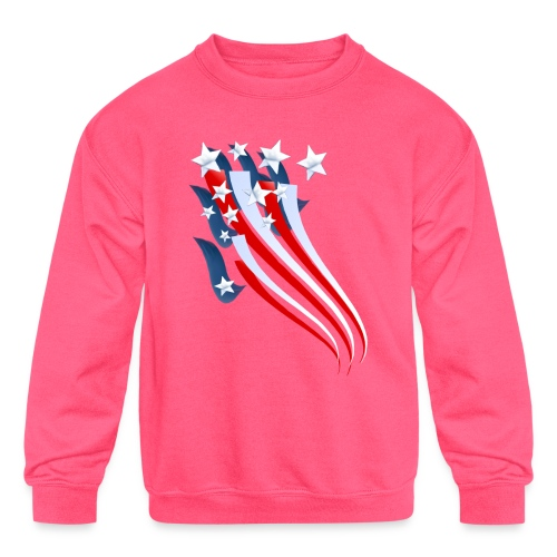 Sweeping American Flag - Kids' Crewneck Sweatshirt