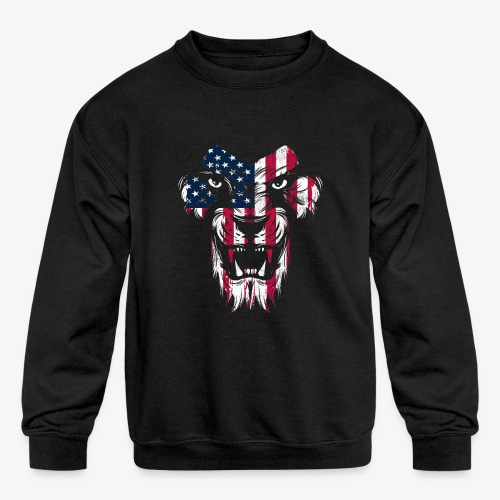 American Flag Lion - Kids' Crewneck Sweatshirt
