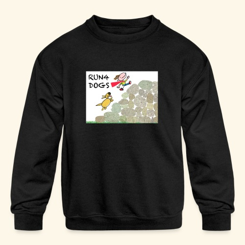 Dog chasing kid - Kids' Crewneck Sweatshirt