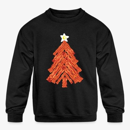 Funny Bacon and Egg Christmas Tree - Kids' Crewneck Sweatshirt