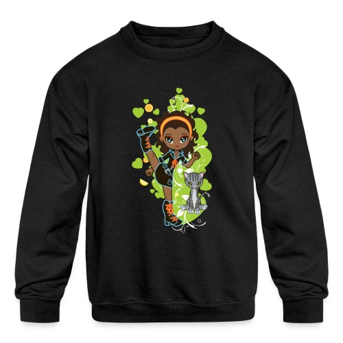Aisha the African American Chibi Girl - Kids' Crewneck Sweatshirt