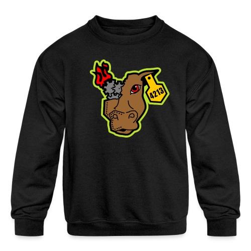 MetalCowRobotics Logo with Green Outline - Kids' Crewneck Sweatshirt