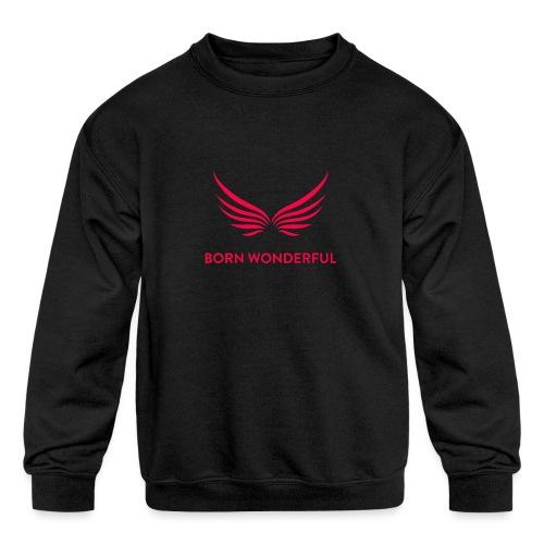 Red Born Wonderful Logo - Kids' Crewneck Sweatshirt
