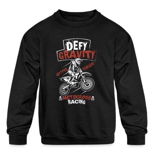 Dirt Bike Defy Gravity - Kids' Crewneck Sweatshirt