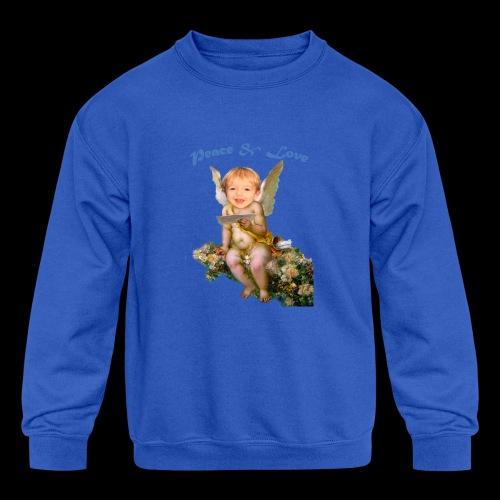 Peace and Love - Kids' Crewneck Sweatshirt