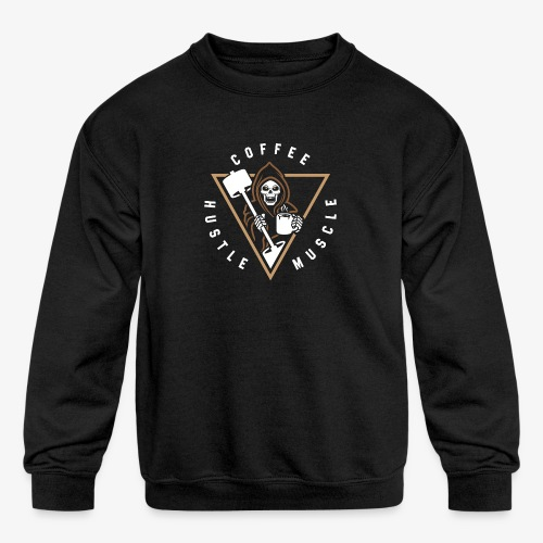 Coffee Hustle Muscle Grim Reaper - Kids' Crewneck Sweatshirt