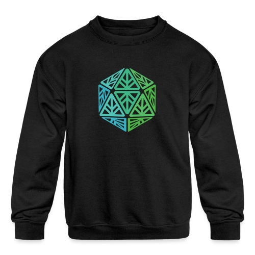 Green Leaf Geek Iconic Logo - Kids' Crewneck Sweatshirt